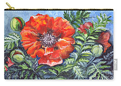 Carry-all Pouch featuring the painting Poppy Brilliance by Carol Wisniewski