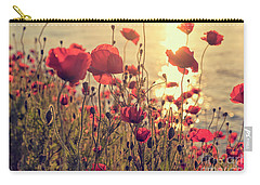 Poppy Flowers At Sunset Carry-all Pouch