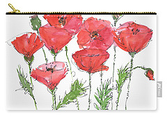 Poppy Garden Carry-all Pouch by Kathleen McElwaine