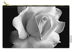 Porcelain Rose Flower Black And White Carry-all Pouch