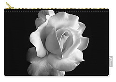 Porcelain Rose Flower Black And White Carry-all Pouch by Jennie Marie Schell