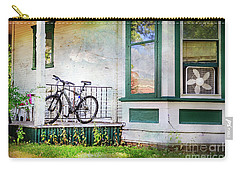 Carry-all Pouch featuring the photograph Porch And Window Fan Bicycle by Craig J Satterlee