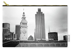 Carry-all Pouch featuring the mixed media Port Of San Francisco Black And White- Art By Linda Woods by Linda Woods