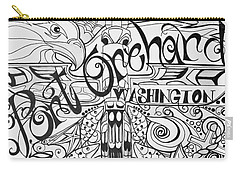 Carry-all Pouch featuring the drawing Port Orchard Washington Zentangle Collage 2 by Jani Freimann
