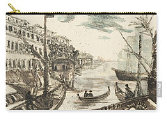 Carry-all Pouch featuring the painting Port Ripa Grande Paraphrase After Giovanni Piranesi by Martin Stankewitz