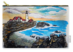 Porthead Lighthouse Maine In Watercolors Carry-all Pouch