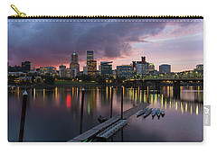 Portland City Skyline Along Willamette River At Dusk Carry-all Pouch