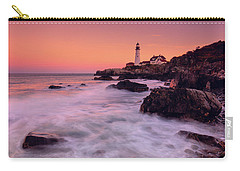 Carry-all Pouch featuring the photograph Portland Head Light In Pink  by Emmanuel Panagiotakis