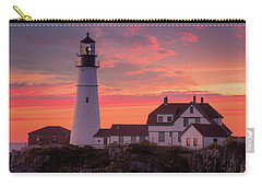Carry-all Pouch featuring the photograph Portland Head Light Sun Set  by Emmanuel Panagiotakis