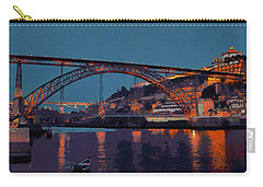 Carry-all Pouch featuring the photograph Porto River Douro And Bridge In The Evening Light by Menega Sabidussi