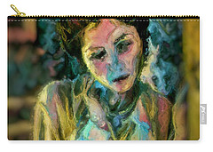 Portrait Colorful Female Wistfully Thoughtful Pastel Carry-all Pouch