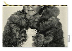 Carry-all Pouch featuring the painting Portrait Girl Child Smith Sound Eskimo Tribe North Greenlan by Artistic Panda