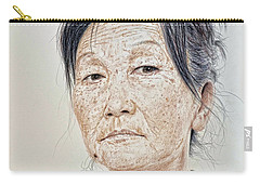 Portrait Of A Chinese Woman With A Mole On Her Chin Carry-all Pouch by Jim Fitzpatrick