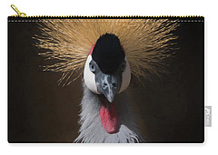 Carry-all Pouch featuring the digital art Portrait Of A Crowned Crane 2 by Ernie Echols