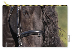 Carry-all Pouch featuring the photograph Portrait Of A Friesian D6438 by Wes and Dotty Weber