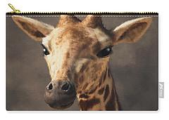 Carry-all Pouch featuring the digital art Portrait Of A Giraffe  by Daniel Eskridge