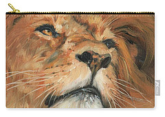 Carry-all Pouch featuring the painting Portrait Of A Lion by David Stribbling