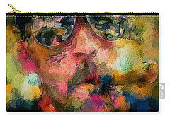 Portrait Of A Man In Sunglass Smoking A Cigar In The Sunshine Wearing A Hat And Riding A Motorcycle In Pink Green Yellow Black Blue Oil Paint With Raking Light To Pick Up Paint Texture Carry-all Pouch