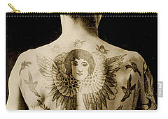 Portrait Of A Man With An Elaborate Back Piece Tattoo Carry-all Pouch