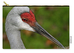 Portrait Of A Sandhill Crane Carry-all Pouch by Myrna Bradshaw