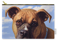 Carry-all Pouch featuring the painting Portrait Of A Sweet Boxer by James W Johnson