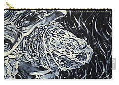 Carry-all Pouch featuring the painting Portrait Of A Turtle by Fabrizio Cassetta