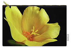 Carry-all Pouch featuring the photograph Portrait Of A Yellow Purslane Flower by David and Carol Kelly