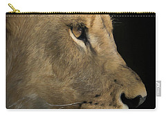 Carry-all Pouch featuring the digital art Portrait Of A Young Lion by Ernie Echols