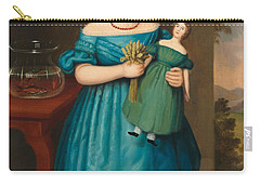 Portrait Of Amy Philpot In A Blue Dress With Doll And Goldfish Carry-all Pouch by Joseph Whiting Stock