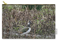 Portrait Of Beautiful Lapwing Bird Seen Through Reeds On Side Of Carry-all Pouch
