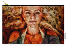 Portrait Of Female With Hair Billowing Everywhere In Radiant Unsmiling Sharp Features Golden Warm Colors And Upturned Nose Curls And Aliens Of The Departure Carry-all Pouch
