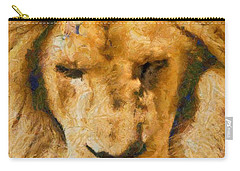 Carry-all Pouch featuring the photograph Portrait Of Lion by Scott Carruthers