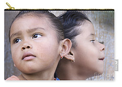 Carry-all Pouch featuring the photograph Portrait Of Two Panama Girls by Heiko Koehrer-Wagner