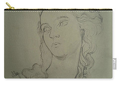 Carry-all Pouch featuring the drawing  Portrait Of Elisabeth Vigee Le Brun by Maja Sokolowska
