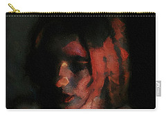 Portrait Painting Of Girl In Red Gray Black With Wistful Thoughts Of Fleeting Memories Carry-all Pouch