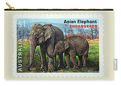 Carry-all Pouch featuring the photograph Postage Stamp - Asian Elephant By Kaye Menner by Kaye Menner