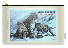 Carry-all Pouch featuring the photograph Postage Stamp - Snow Leopard By Kaye Menner by Kaye Menner
