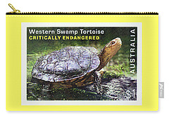 Carry-all Pouch featuring the photograph Postage Stamp - Western Swamp Tortoise By Kaye Menner by Kaye Menner