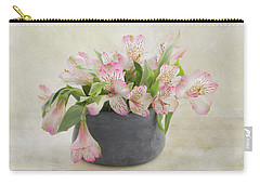 Carry-all Pouch featuring the photograph Pot Of Pink Alstroemeria by Kim Hojnacki