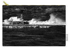 Carry-all Pouch featuring the photograph Pounding The Breakwater by Nareeta Martin