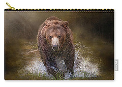 Carry-all Pouch featuring the digital art Power Of The Grizzly by Nicole Wilde