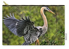 Carry-all Pouch featuring the photograph Prancing Heron by Shari Jardina