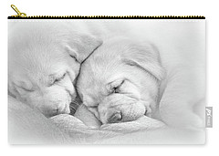 Carry-all Pouch featuring the photograph Precious Lab Puppies Nursing Black And White by Jennie Marie Schell
