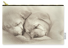 Carry-all Pouch featuring the photograph Precious Lab Puppies Nursing Sepia by Jennie Marie Schell