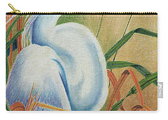 Carry-all Pouch featuring the drawing Preening Egret by Peter Piatt