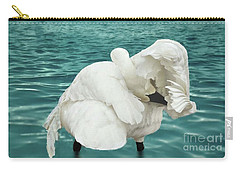 Preening Trumpeter Swan  Carry-all Pouch