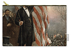 Carry-all Pouch featuring the photograph President Abraham Lincoln - American Flag by International  Images