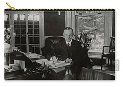 Carry-all Pouch featuring the painting President Calvin Coolidge by Artistic Panda