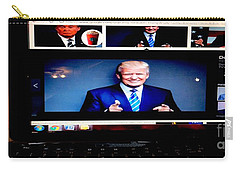 Carry-all Pouch featuring the digital art President Elect Donald J. Trump Two Guns Blazing by Richard W Linford