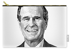 President George H. W. Bush Graphic Black And White Carry-all Pouch